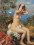 ルノワール・髪を整える浴女