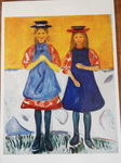 ムンク作の青いエプロンをつけた二人の少女