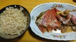 玄米ご飯と金目鯛の煮付け