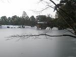 氷り付いた霞ヶ池