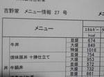 吉野家メニュー情報(カロリー表)