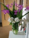 紫蘭との薔薇の挿し花